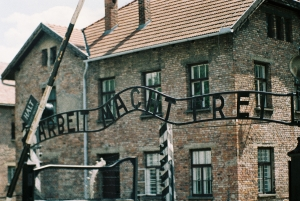 Entrance gate of the former Auschwitz concentration camp with the Scriptures